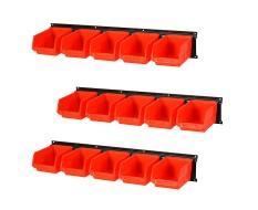 Wand opbergsysteem - 15 kunststof magazijnbakken 16 x 10 x 7,5 cm. + 3 metalen ophangstrippen 61 x 10 cm.
