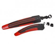 Kunststof voor en achterspatbord rood/zwart voor fiets - MTB – Racefiets (twee-delige set)