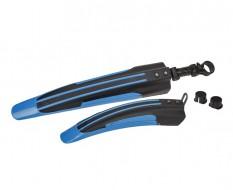 Kunststof voor en achterspatbord blauw/zwart voor fiets - MTB – Racefiets (twee-delige set)