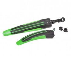 Kunststof voor en achterspatbord groen/zwart voor fiets - MTB – Racefiets (twee-delige set)